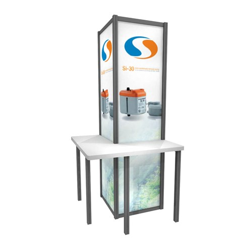 "36"" x 84"" Upright Back-Lit Kiosk with L Shaped Counter"