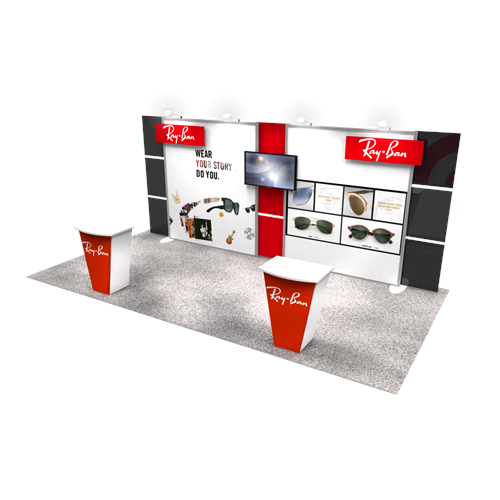 10' x 20' Rental Booth with Slim Profile, Media and Accessories