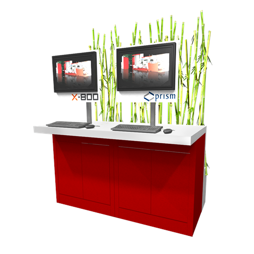"40"" Rectangular Kiosk with Bamboo Accents"