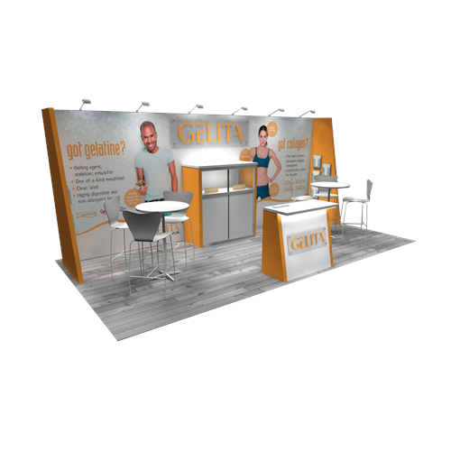 10' x 20' Rental Exhibit with Angled Walls and Mural Graphic