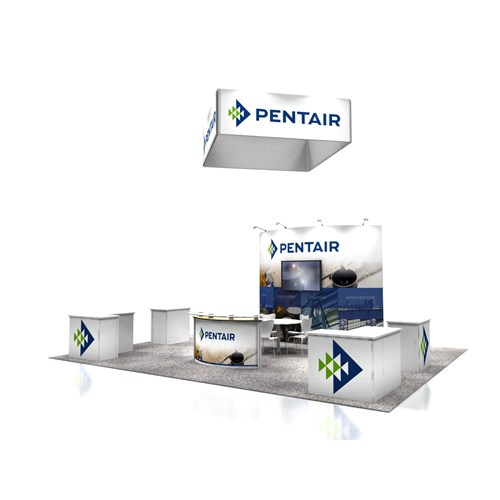 20' x 25' Rental Exhibit with Convex Wall and Workstations