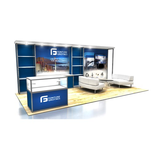 10' x 20' Rental Display with Canopy, Showcase & Shelving