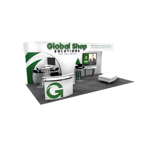 10' x 20' Rental Exhibit with Perimeter Canopy and 3-D Logos