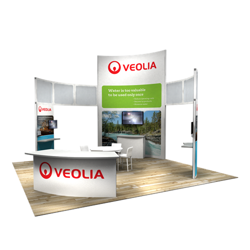 20' x 20' Rental Exhibit with Curved Tower