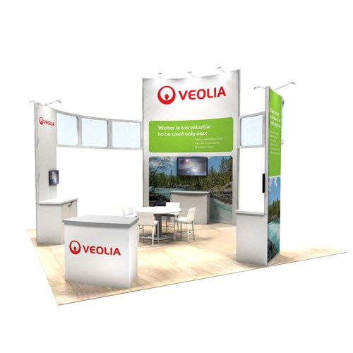 20' x 20' Rental Exhibit with Curved Tower and Demo Kiosks