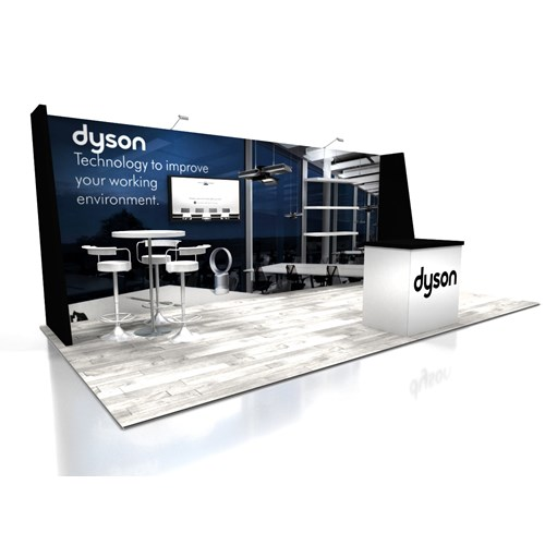 10' x 20' Exhibit Rental With Straight Wall And Angled Returns