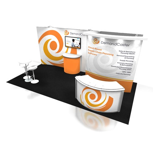 10' x 20' Inline Rental Display With Convex Canopy and Curved Graphics