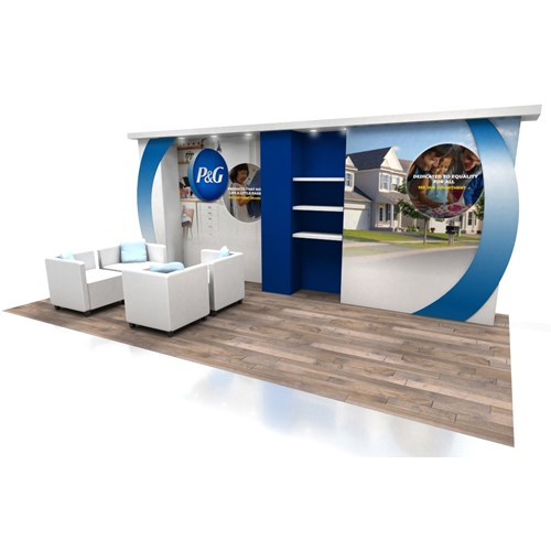 10' x 20' Rental Display with Vertical Curved Accents and Canopy