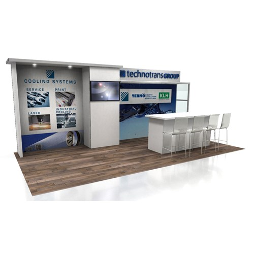 10' x 20' Rental Display with Dual Canopies and Large Demo Bar