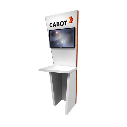 "95"" Rental Angled Kiosk with Angled Surfaces"